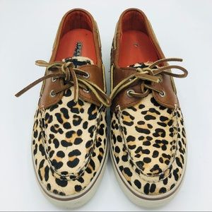 Sperry Topsiders Leopard Print Size 9